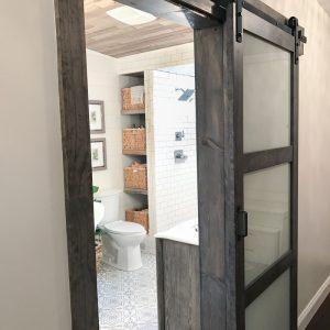 Simple  Bathroom Remodel Affordable Premade Barn Doors