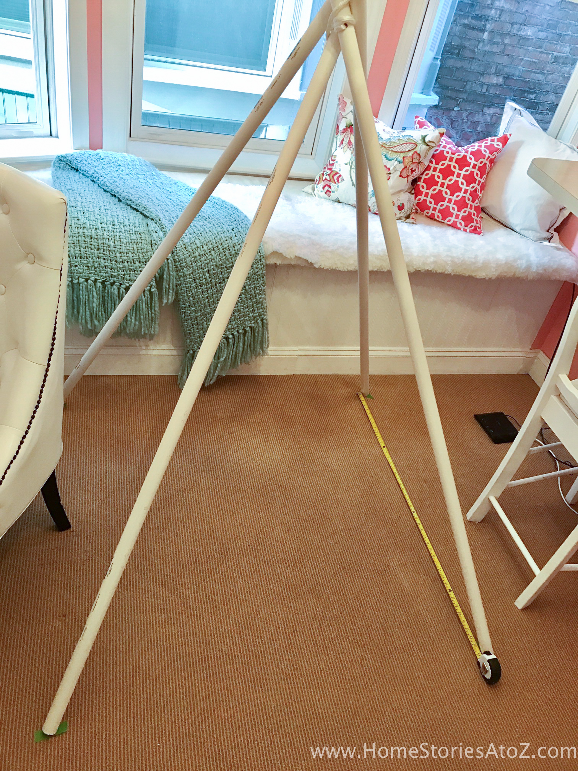Also, creating your teepee on a rug or on carpet will be much easier than  on wood or tile!