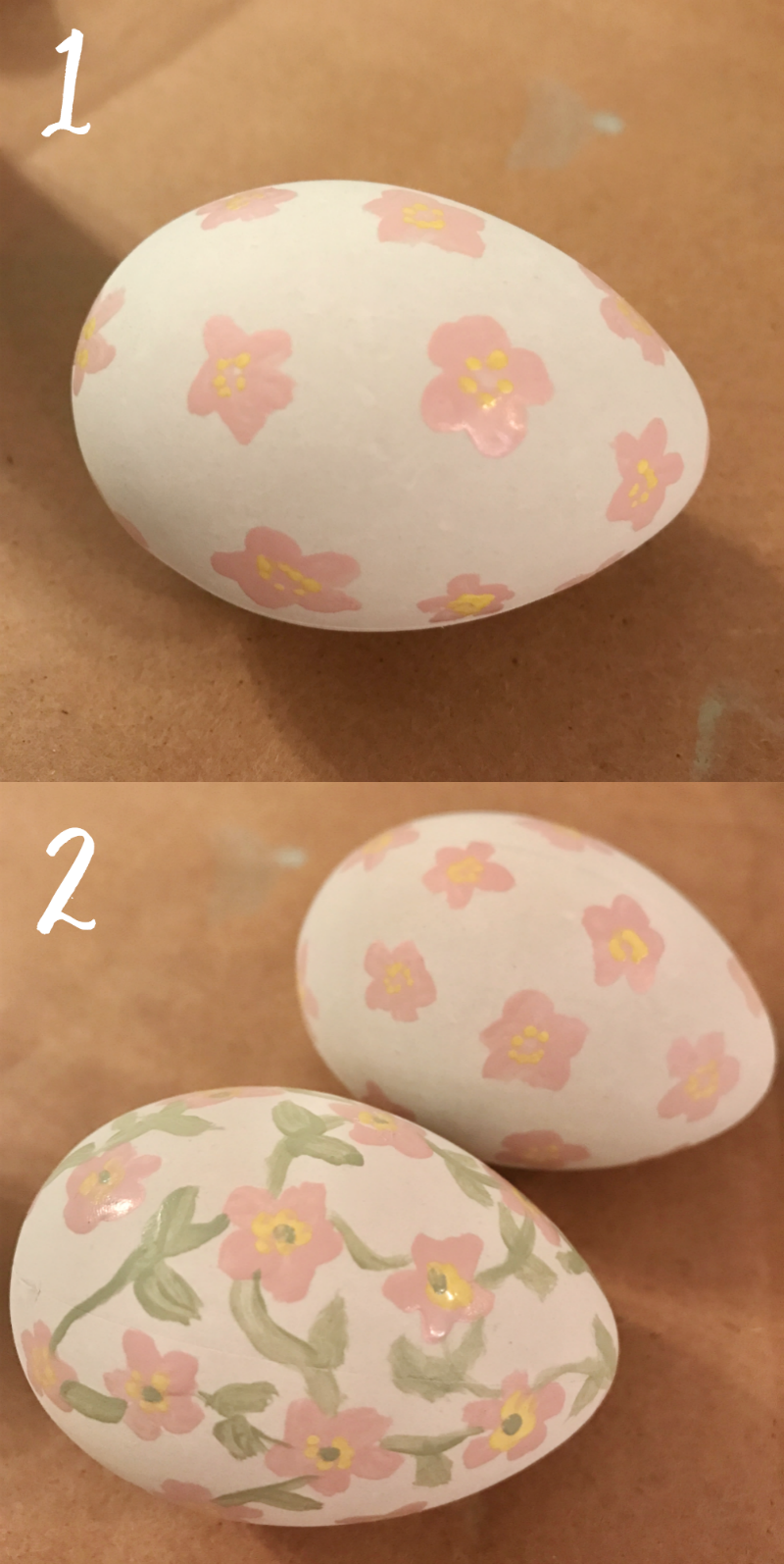 Painting Easter eggs with acrylic craft paint