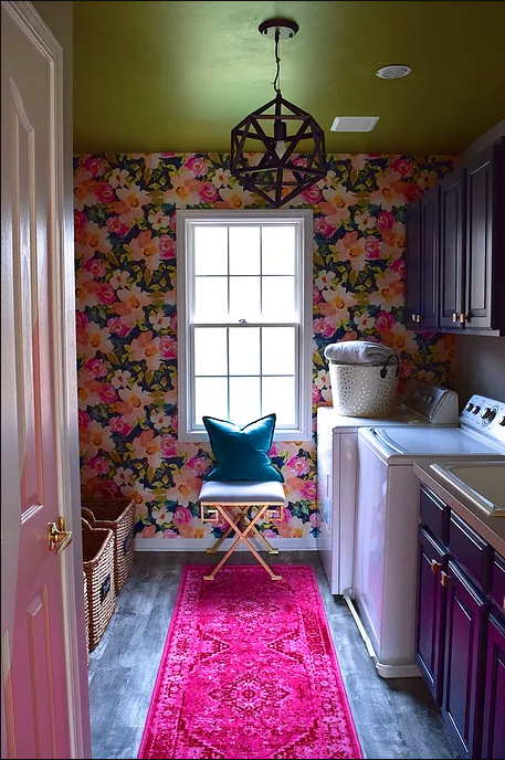 beautiful laundry room wallpaper