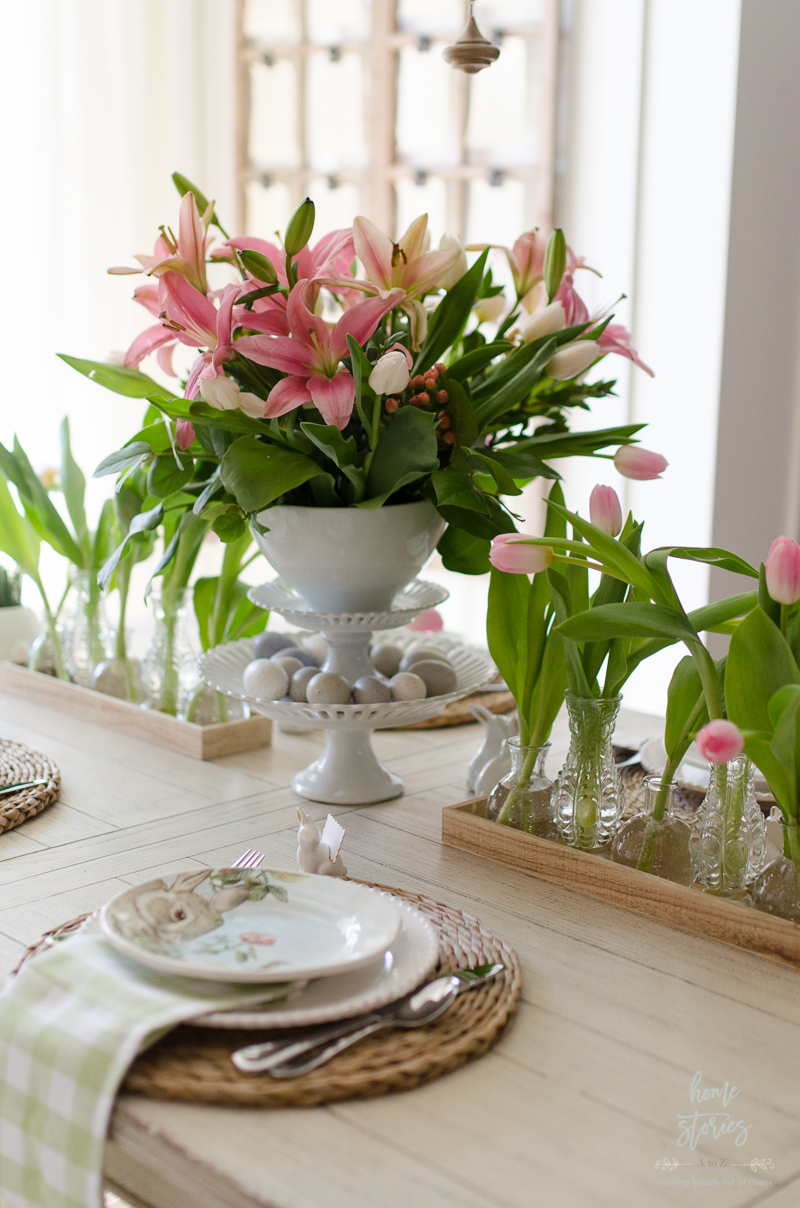 Spring decorating ideas spring home tour for Dining table centerpieces