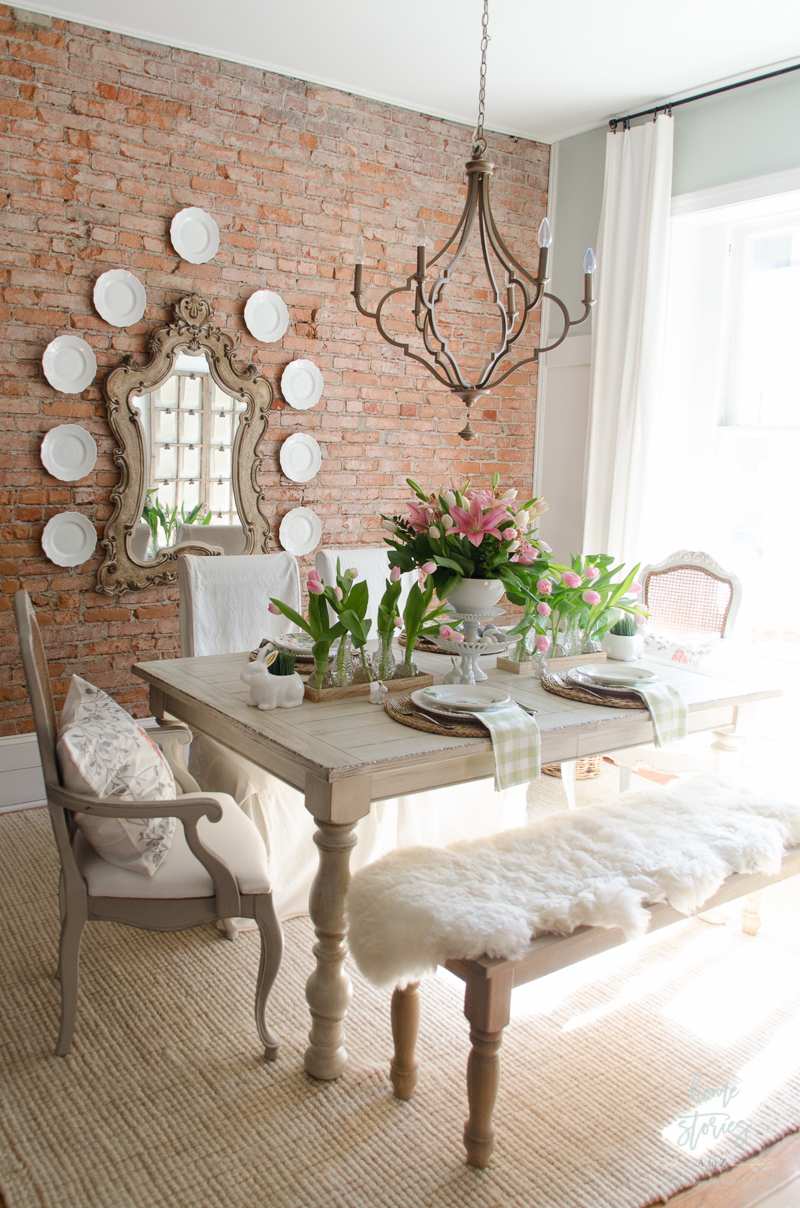 Spring decorating ideas spring home tour for White dining table decor ideas