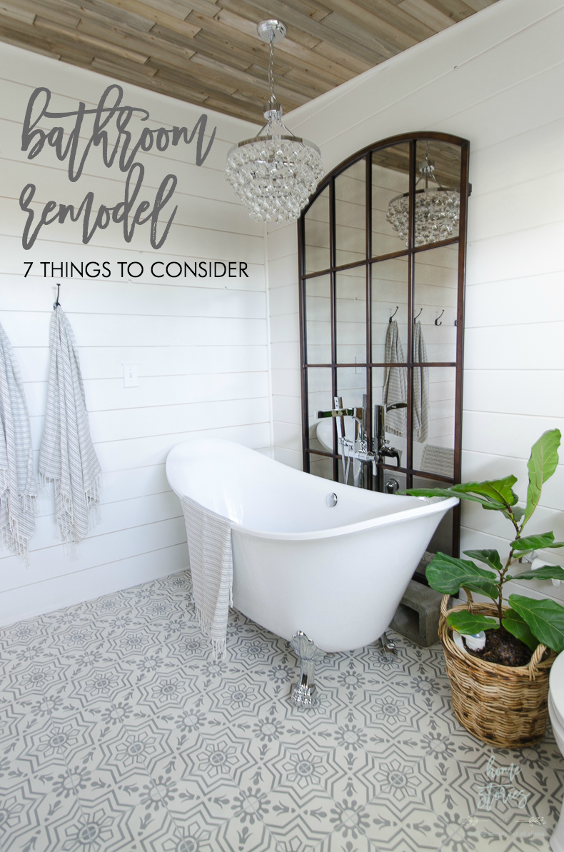 bathroom remodel bathroom makeover white shiplap bathroom cement tile floors bathroom clawfoot tub