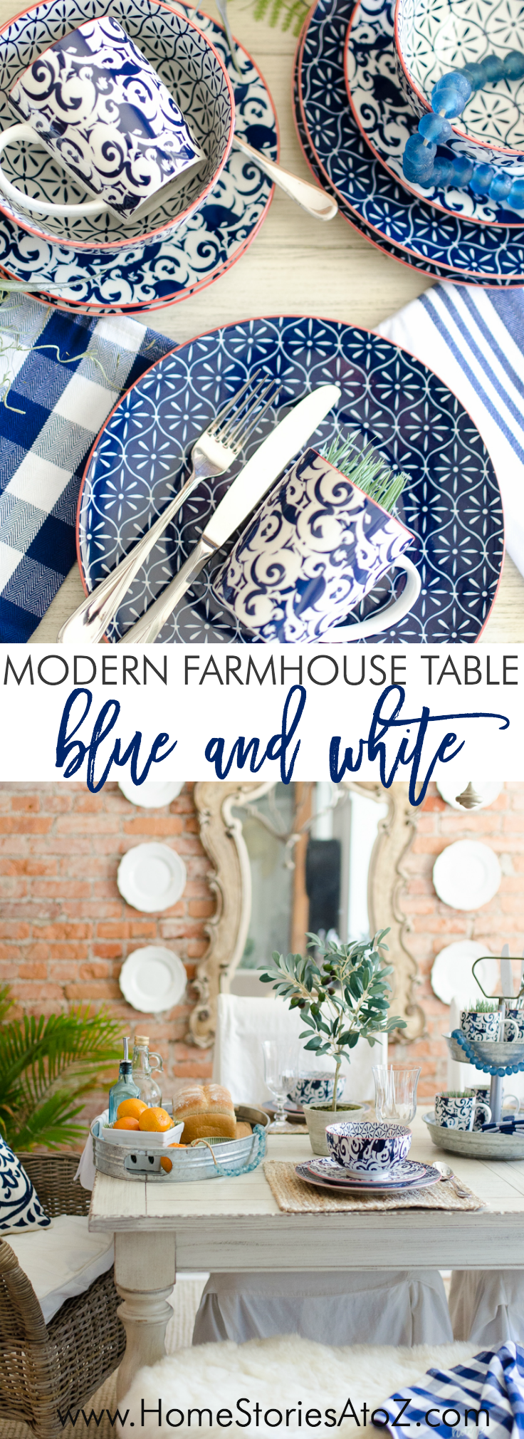modern farmhouse blue white table setting