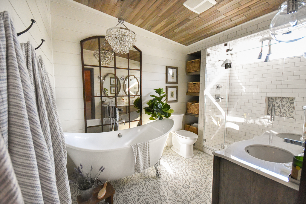 Master bathroom farmhouse bath clawfoot tub wood ceiling