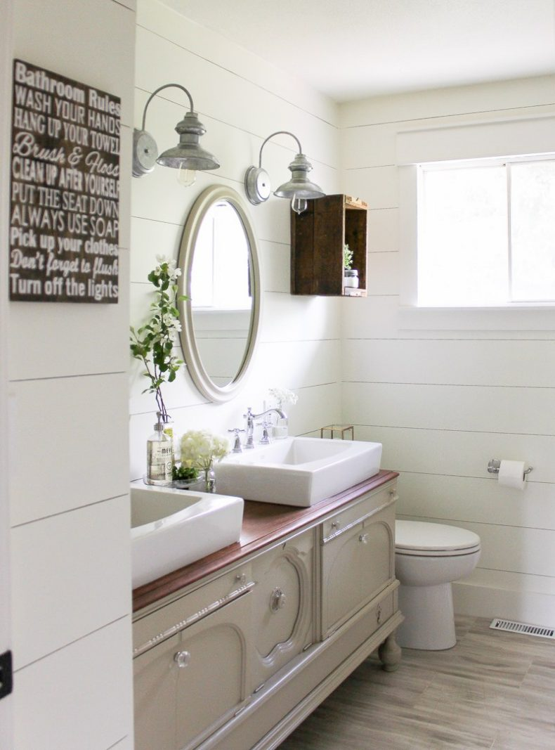 Amazing She even includes a tutorial on how to create a bathroom vanity using a vintage buffet