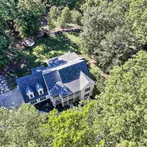 drone shot of house