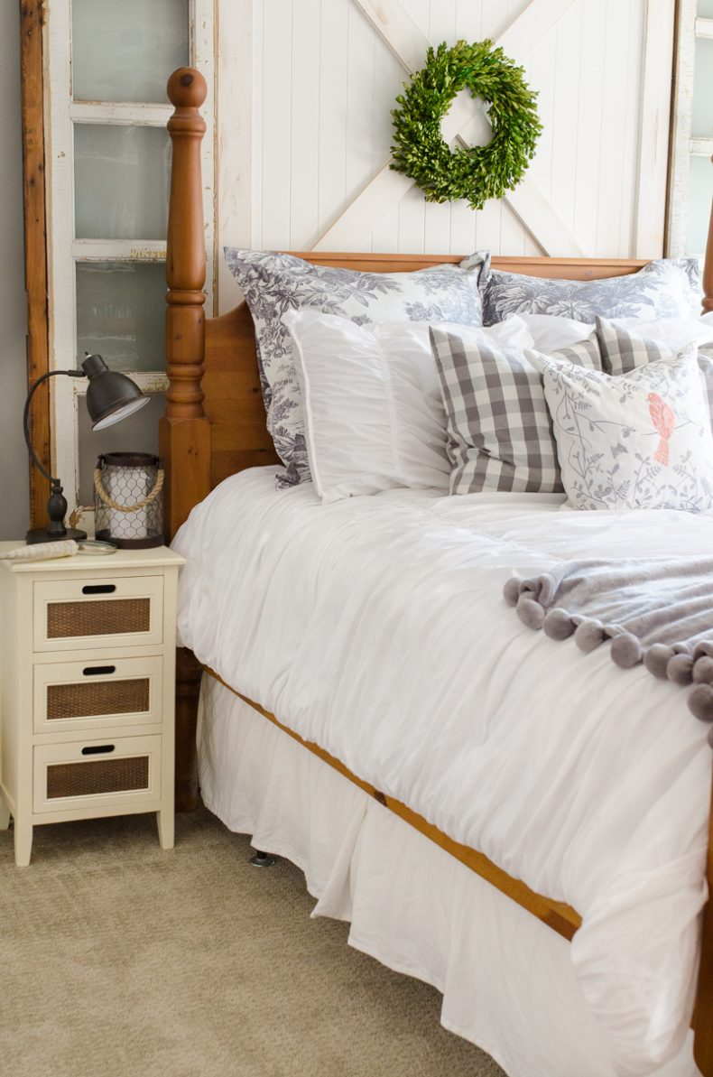 I Love This Inexpensive White Ruched Bedding Found At Walmart The Diy Barn Door Headboard Can Be Found Here