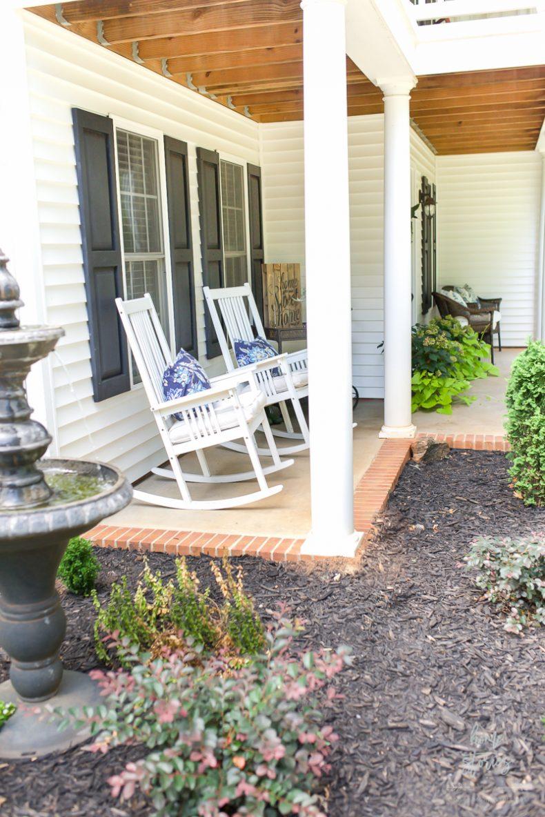 Blue front door, summer porch, Endless Summer Hydrangeas