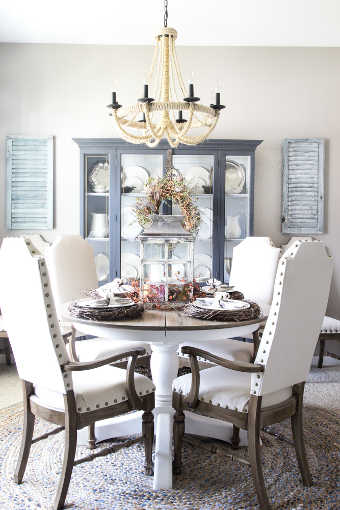 Neutral fall dining room by blesser house