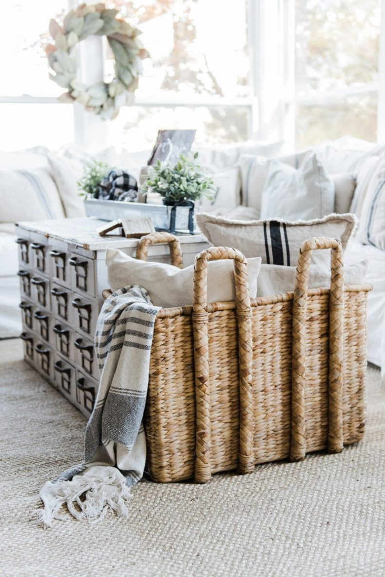 Loading A Basket With Cozy Throws And Extra Pillows Is A Fun Way To Add  Texture To Your Family Room. Fabric Pumpkins That Match Your Decor Are A  Fun Nod To ...