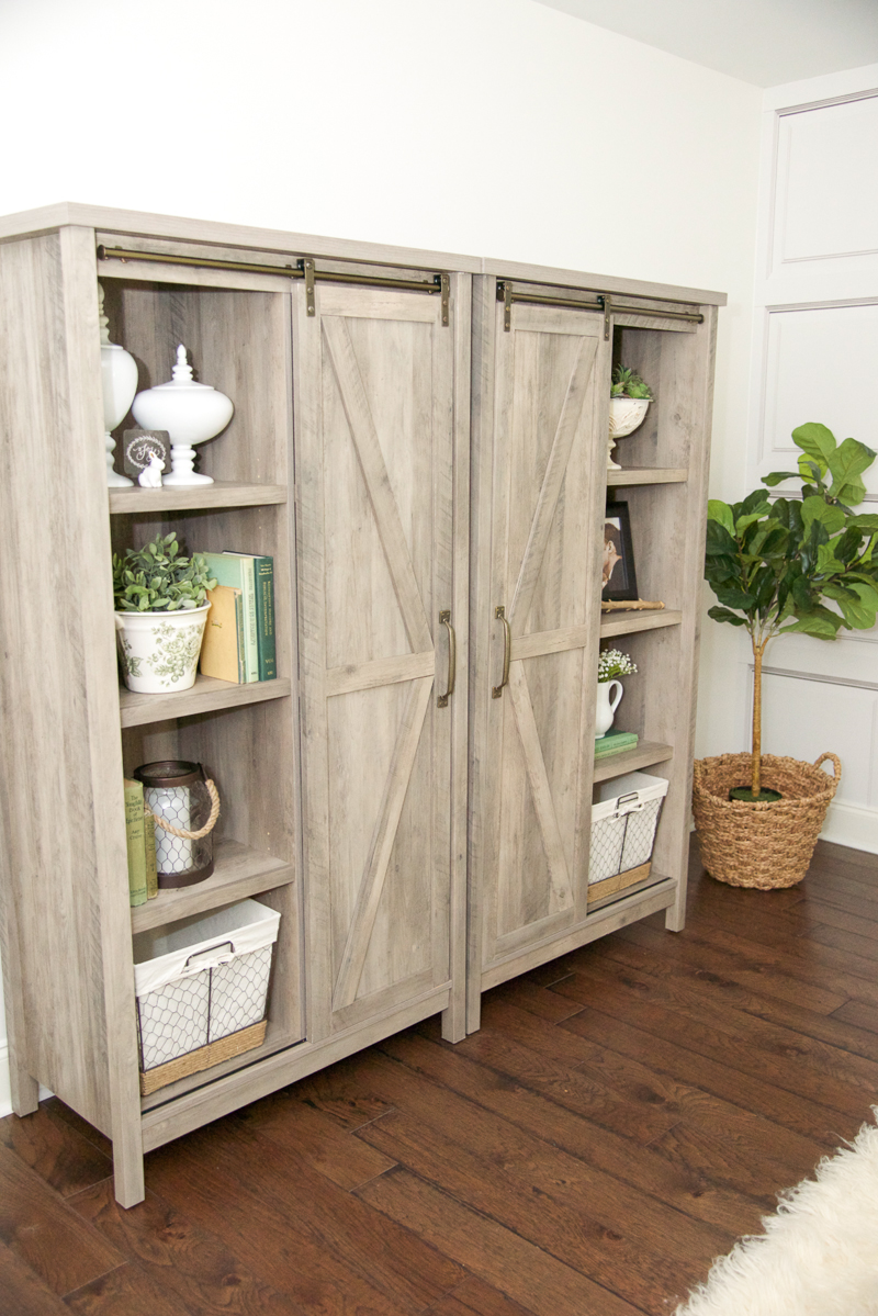 These cabinets have one fixed shelf on the left side of the cabinet  but  all of the other shelves are adjustable  Right now  I m using the inner  shelves to. White Master Bedroom Makeover   Home Stories A to Z