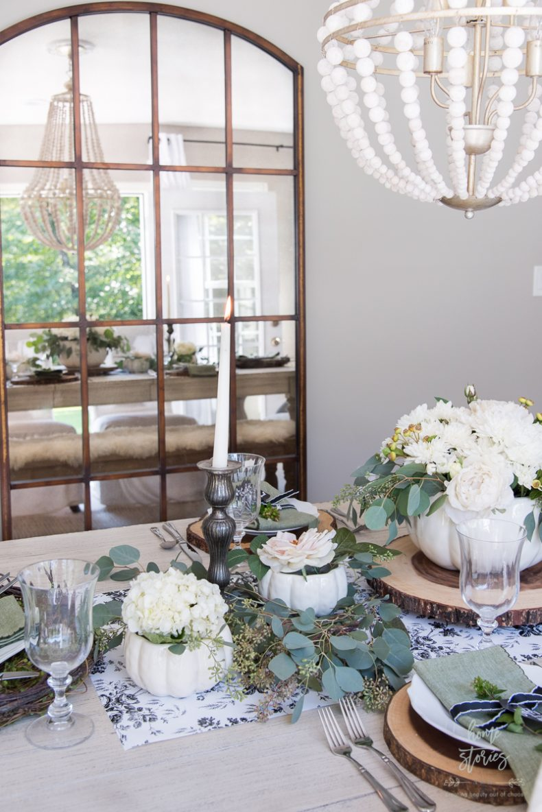 Elegant Black White And Green Farmhouse Table Setting For Fall