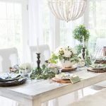 Elegant Black, White, and Green Farmhouse Table Setting for Fall