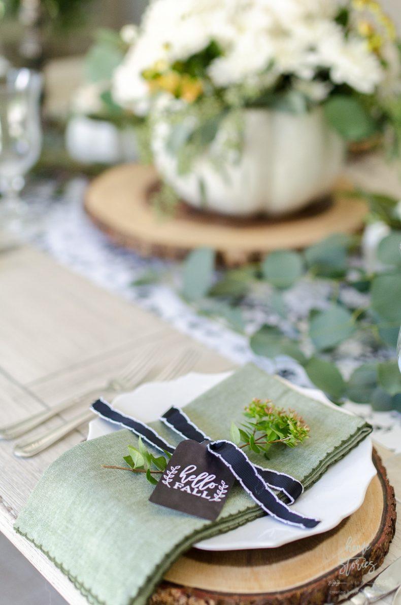 & Elegant Black White and Green Farmhouse Table Setting for Fall