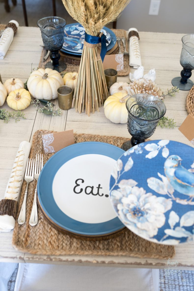 Casual Blue And White Thanksgiving Table