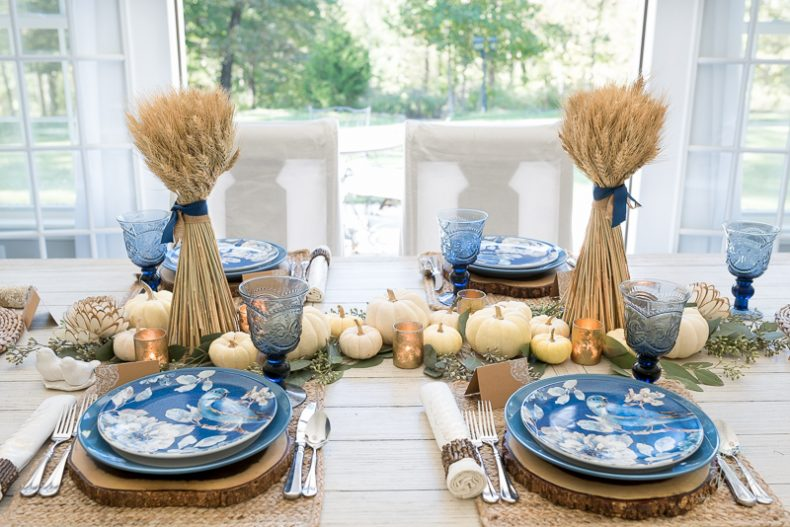 How to Affordably Style Yourself and Your Table for Thanksgiving : blue and white table settings - pezcame.com