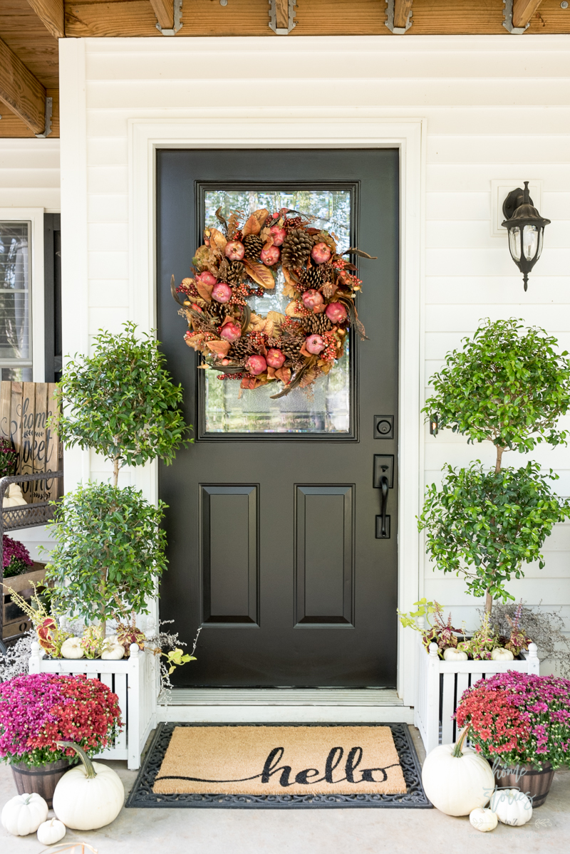 Plum and red mums fall porch home stories a to z for White house fall garden tour 2017