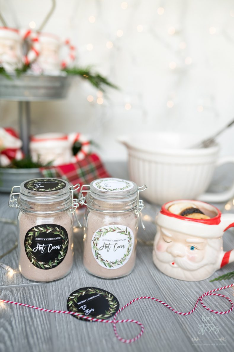 Hot cocoa mix recipe jar gift with free christmas printable home click on link to download the mason jar lid hot cocoa printable gift tags scroll to bottom of post for the hot cocoa mix recipe negle