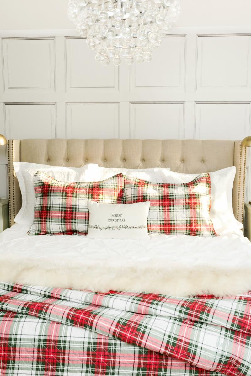 Plaid Christmas bedding Christmas bedroom