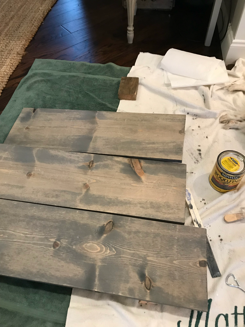 Minwax Classic Gray stain on open shelves