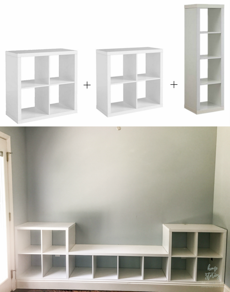 The Wall Of Cube Shelving Is Built Up On A Platform Made From 2 4 S And Finished Off With Baseboard Molding To See How Do This Please Refer We