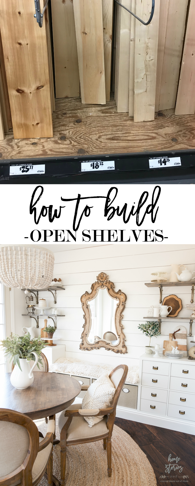 how to build open shelves, open shelving tutorial