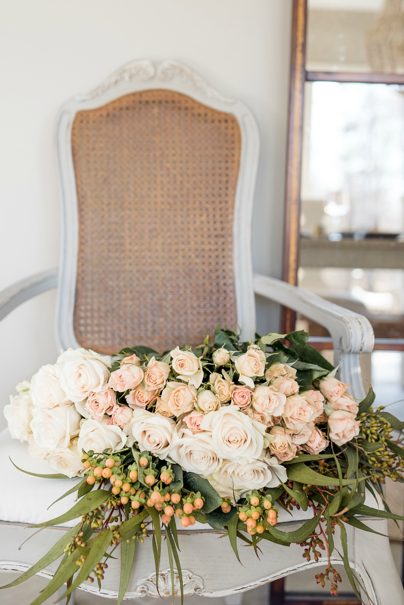 french country decorating flowers in chair