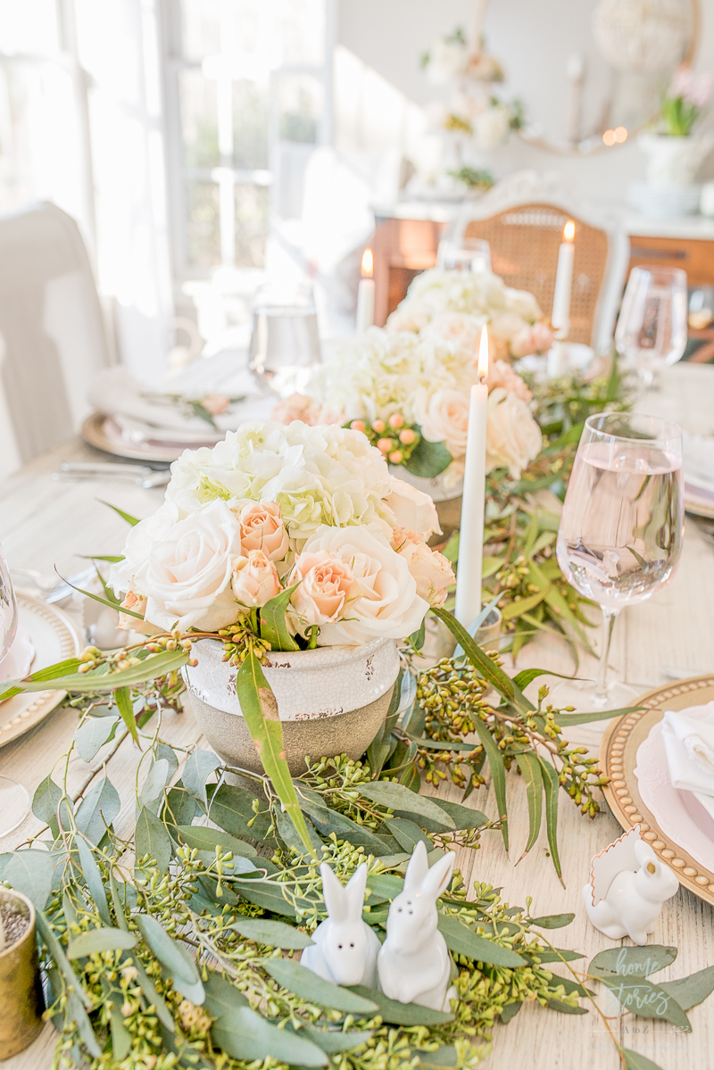 blush and white flower arrangements spring tablescape