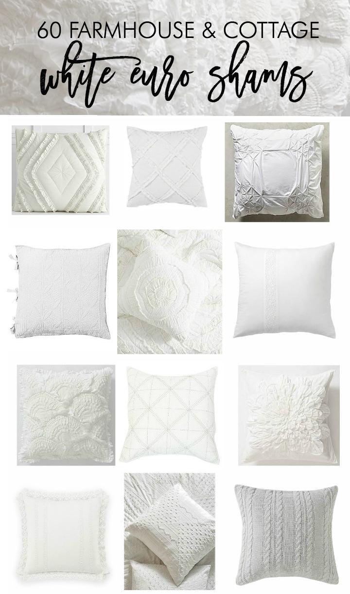 60 farmhouse and cottage white euro shams bedding