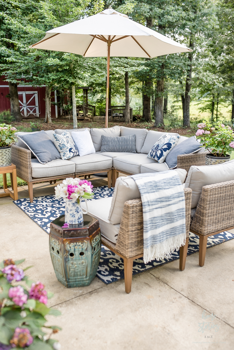 Instead Consider Painting Your Patio To Create A Cement Tile Or Rug Look I Used The Bhg Damask Outdoor In Our Seating Area And Camrose
