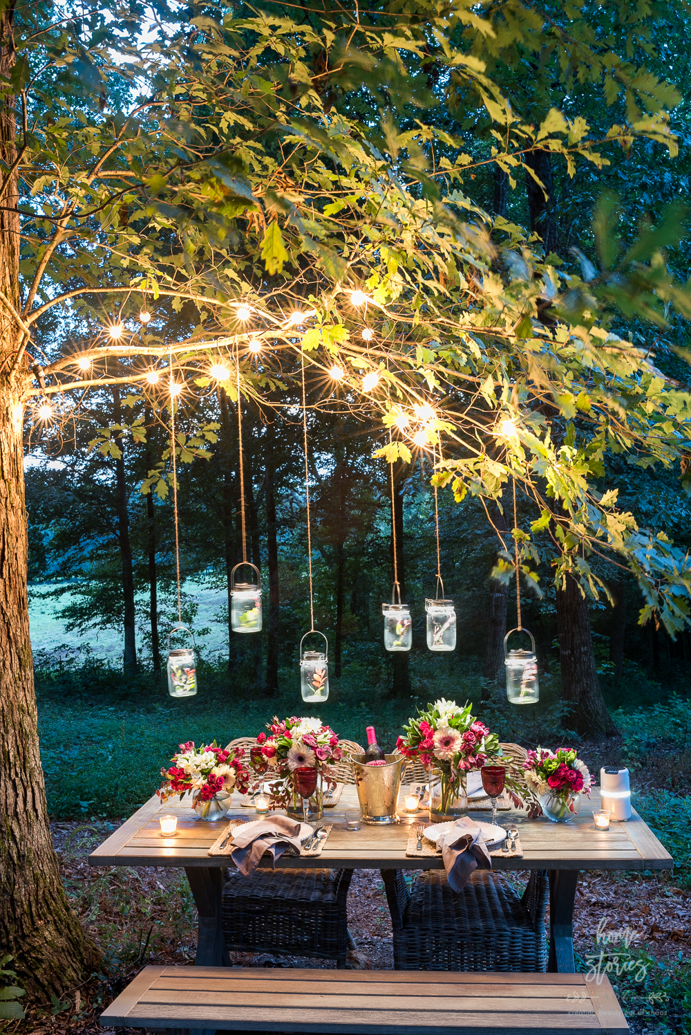 outdoor table twinkle lights outdoor dinner party beautiful outdoor tablescape