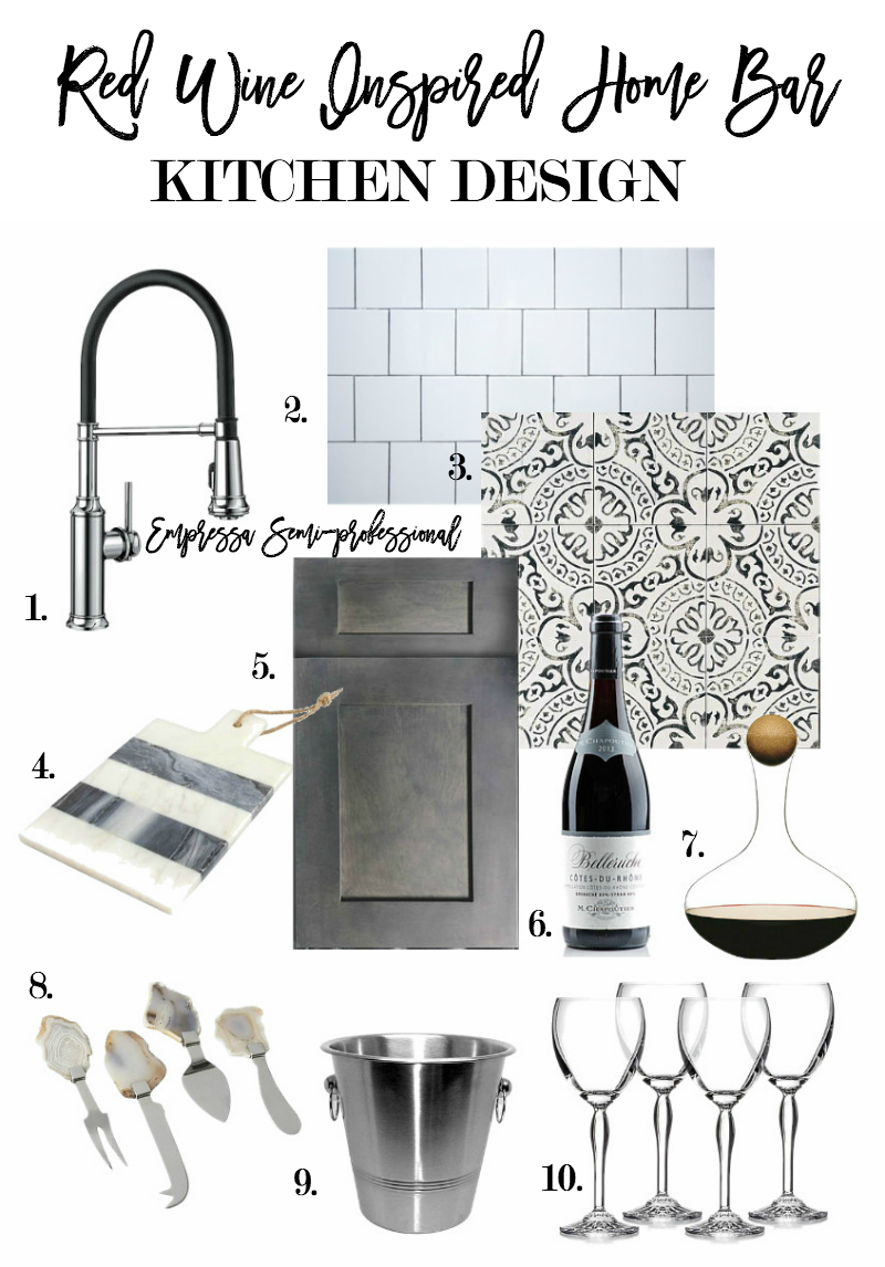 red wine home bar design board