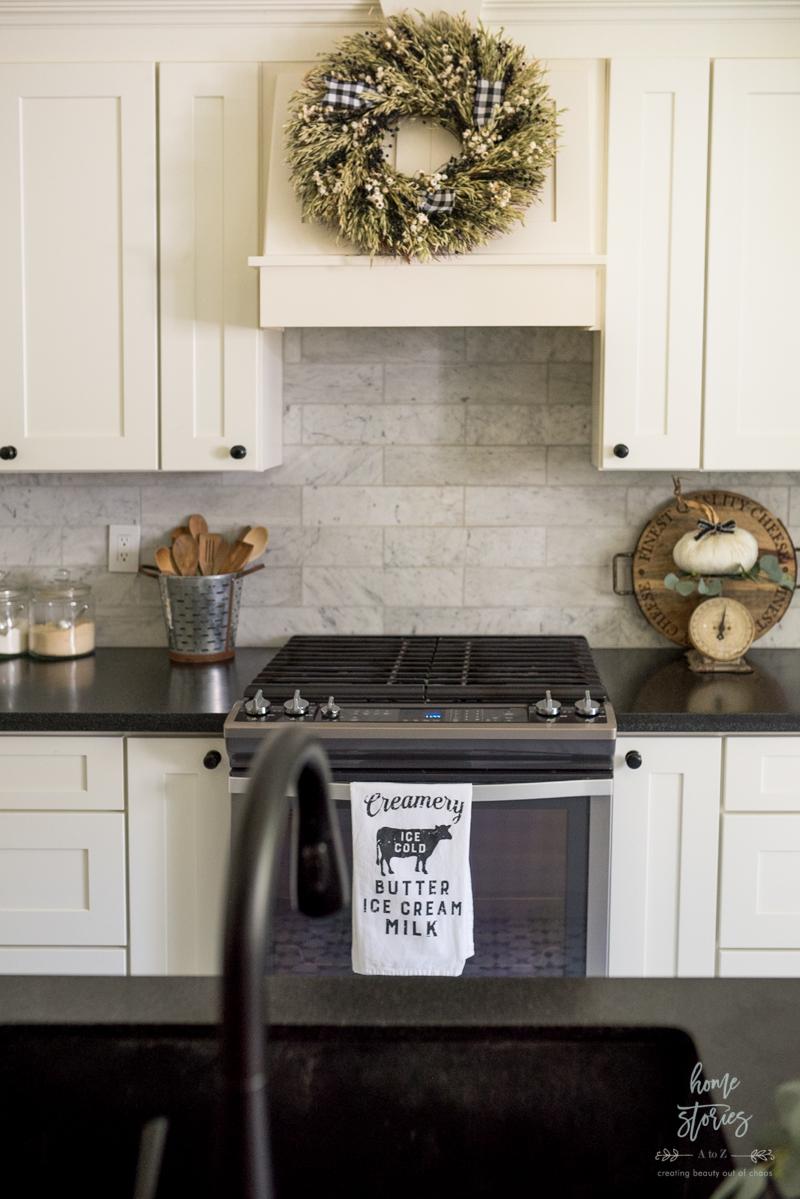 Beautiful Black White Fall Farmhouse Kitchen