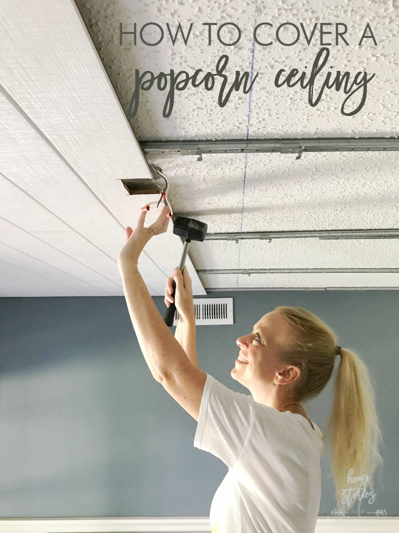 Covering Popcorn Ceiling Plank Wood