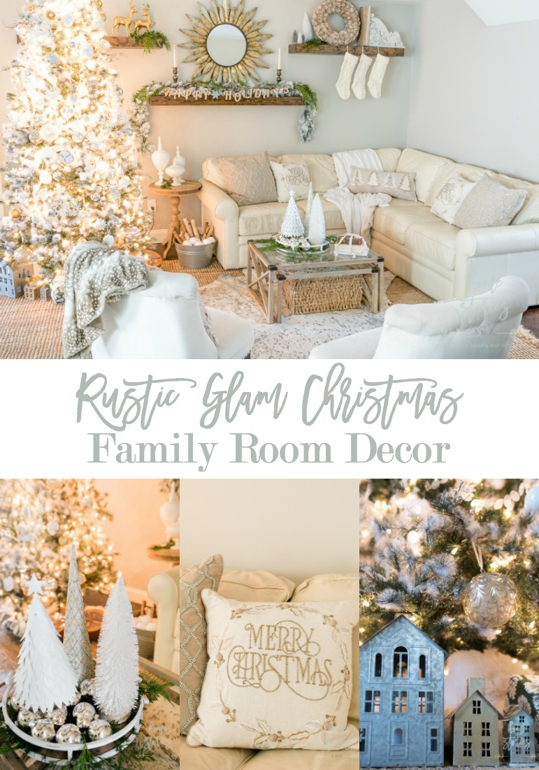 rustic glam christmas family room decor from christmas. Black Bedroom Furniture Sets. Home Design Ideas