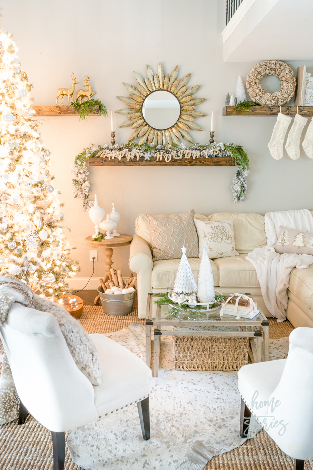 Rustic Glam Christmas Family Room Decor From Christmas Tree