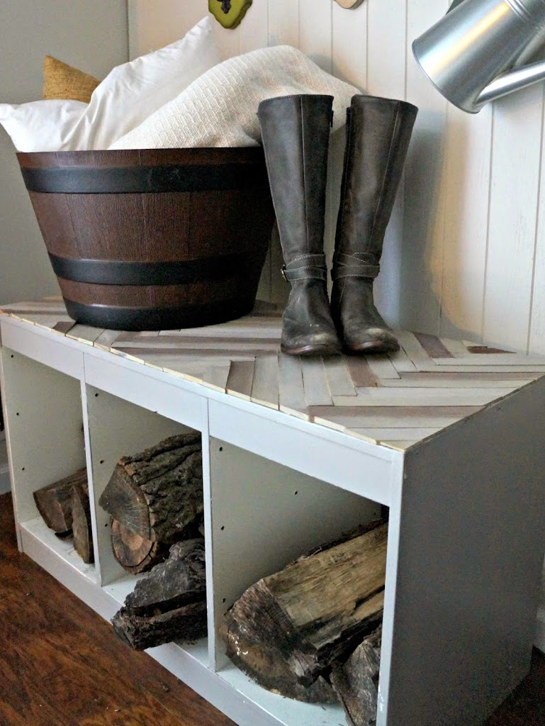 So unique and gorgeous! What a lovely spot for storing mudroom items.