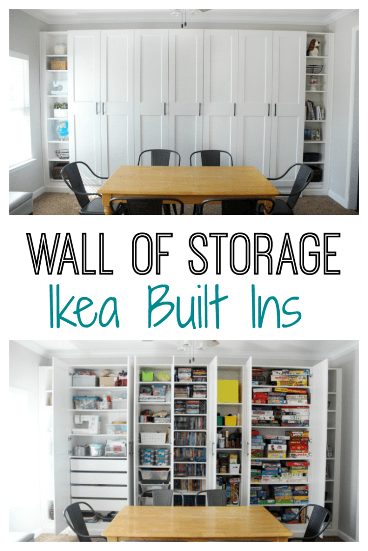 A place for everything! Several cabinets and some bookshelves make this wall of storage perfect.