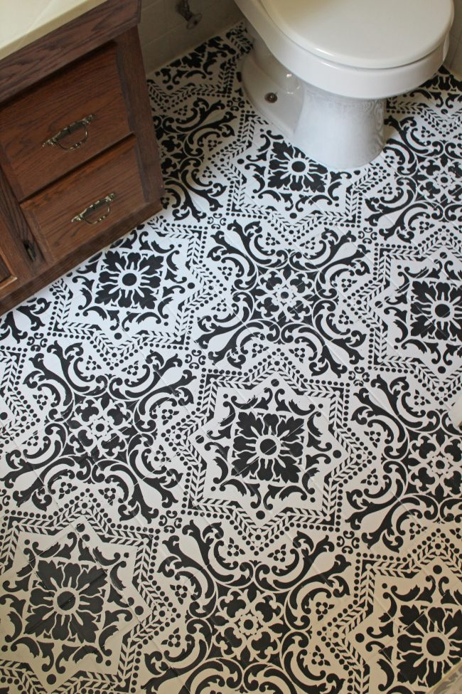 Painted and Stenciled Tile Flooring - Black and White Stenciled Bathroom Floor by Life on Shady Lane