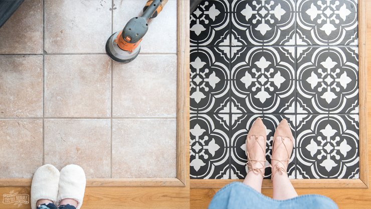 How To Paint Tiles With A Stencil By The Diy Mommy
