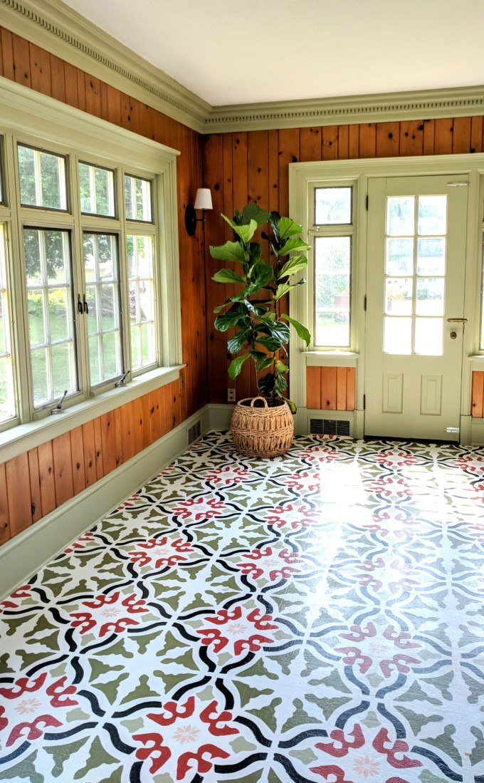 25 Stenciled And Painted Floor Tiles