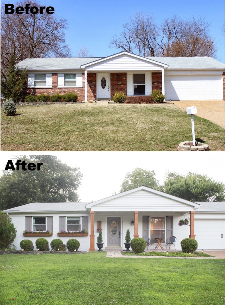 Painted brick home exterior makeover before and after ideas - How to clean house exterior before painting ...