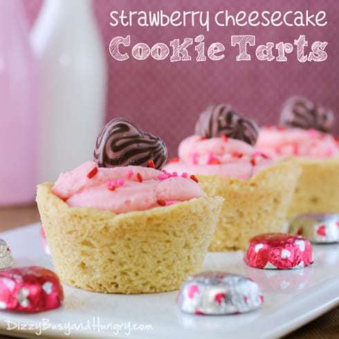 Valentine Treat Recipes - Strawberry Cheesecake Cookie Tarts by Dizzy Busy and Hungry