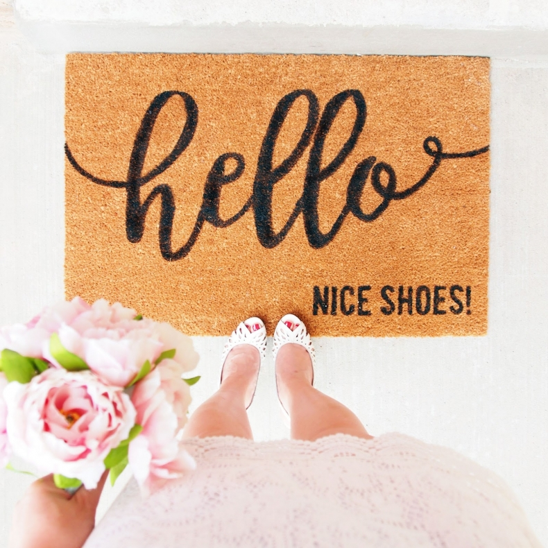 Sweet and Simple Projects - DIY Doormat Nice Shoes by Ting and Things