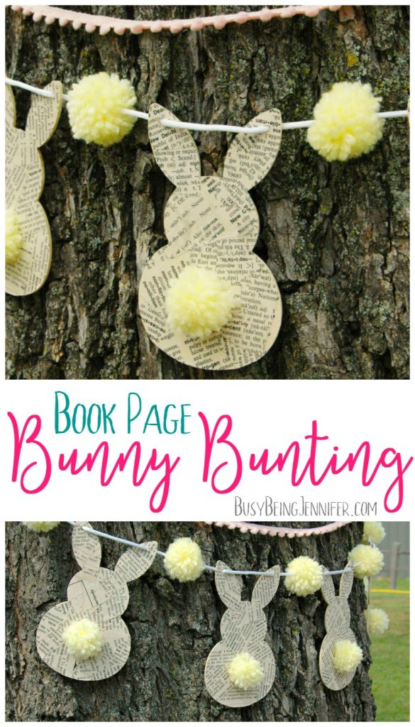 Easter Craft Ideas - Bookpage Bunny Bunting by Busy Being Jennifer