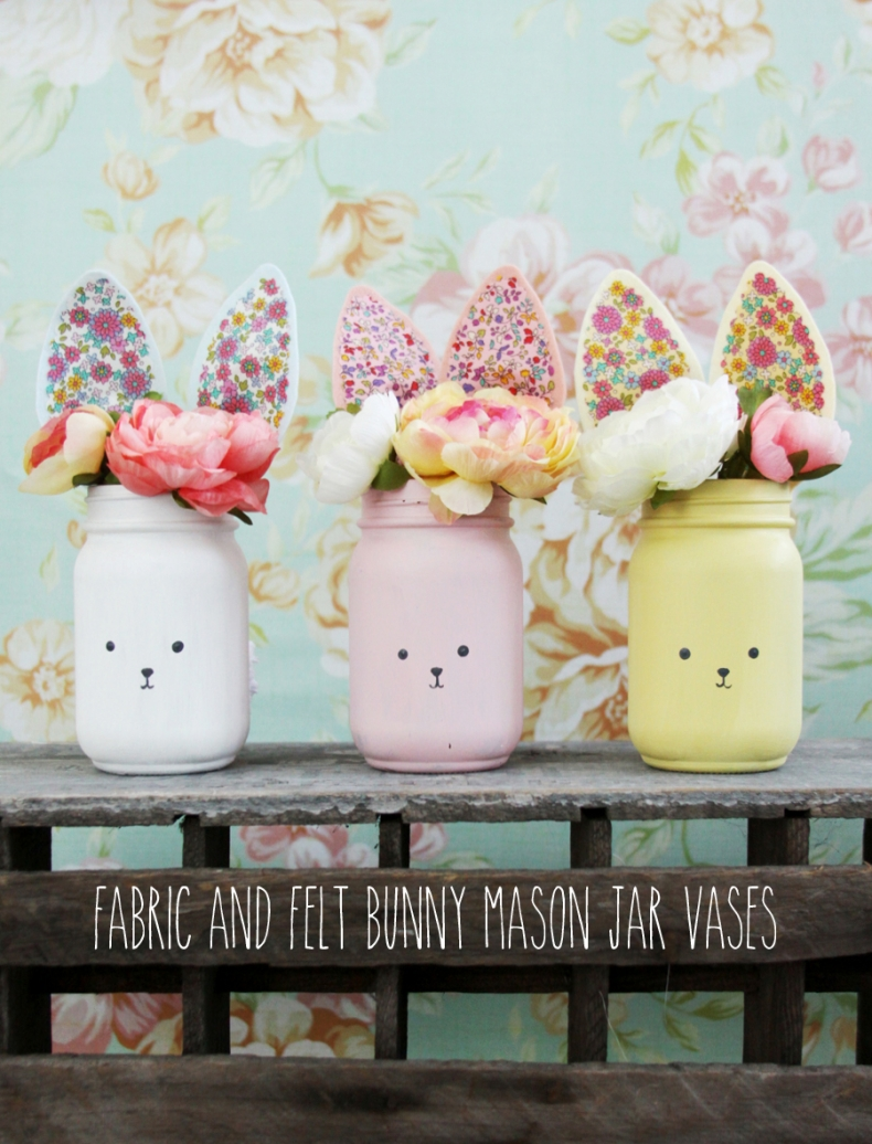 Easter Craft Ideas - Colorful Bunny Mason Jars by Flamingo Toes