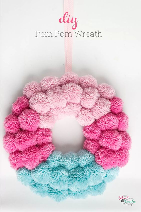 Sweet and Simple Projects - How to Make a Pom Pom Wreath by Real Coake
