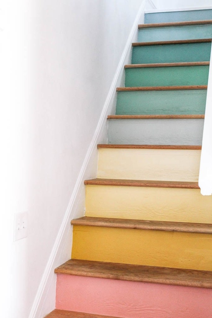 Sweet and Simple Projects - Rainbow Staircase by At Home With Ashley