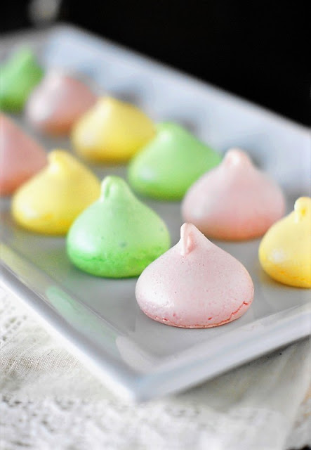 Yummy Easter Treat Recipes - Spring Meringue Cookies by the Kitchen is My Playground